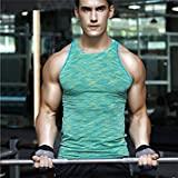 Men Sports Fitness Gym Sweat Absorbtion Tight VES Tops-Green-Parent