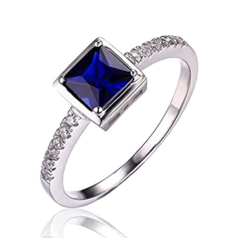 JewelryPalace Women's Fasion Square Cut Gemstone Created Blue Sapphire Engagement
