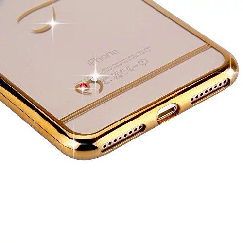 Etsue Plating TPU Silikon Schutzhülle für iPhone 7 Plus, Überzug Gold Rahmen Kratzfeste Plating TPU Case Durchsichtige Transparent Crystal Silikon Schutzhülle Handy Gürtel Tasche für iPhone 7 Plus+ 1x Golden Herz