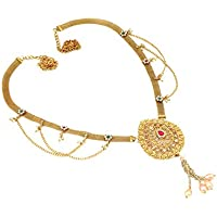 Project Luxe Beautiful Gold Plated Kamarband for Women and Girls - Waist Hip Belt with Color Stones & Pearls