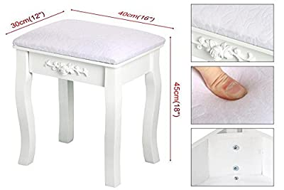 tinkertonk White Fashionable European Dressing Table Stool Decor Seat Padded Elegant Piano Stool - inexpensive UK light shop.