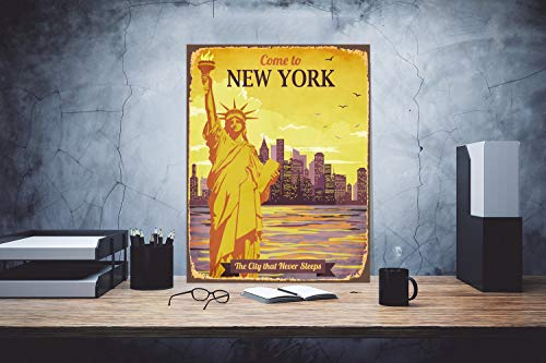 DKISEE Decorative Metal Sign New York Sign Statue of Liberty Print Custom Text Sign NY City Sign Metal Sign Gift Traveler Sign Vintage Signage Classic Metal Sign Decor, 12x18 inch/ 30x45 cm -