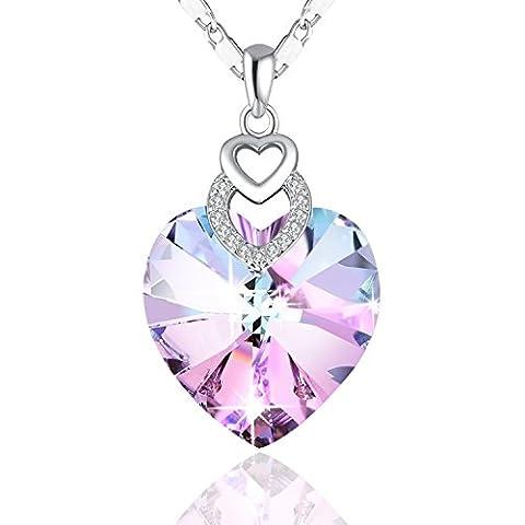 Halskette mit Herz PLATO H Damen Halskette Swarovski Kristall Herzen