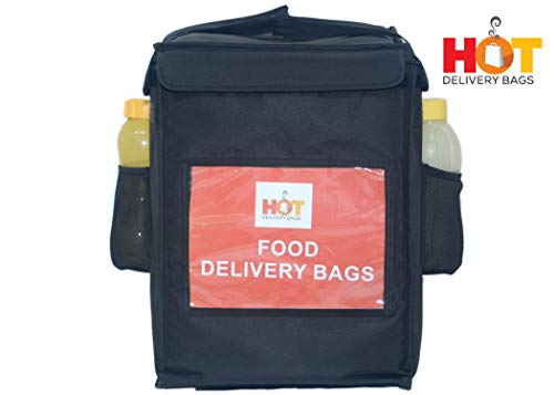 HOT DELIVERY BAG Classic Insulated Food Delivery Bag 15 * 15 * 20 Inches Ideal for Small Meals and Container Delivery Pizza Boxes 12 Inch and Salad Trays Delivery