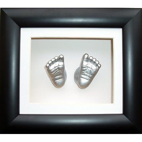 Baby Casting Kit, 15cm x 13cm Black 3D Box Display Frame / White Mount / Metallic Silver Paint by