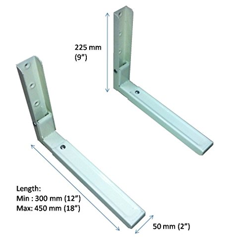"HOME.IN Microwave Oven Wall Mount Stand/Bracket with 12"" to 18"" Length Adj. Mechanism (100% Made of Metal)"