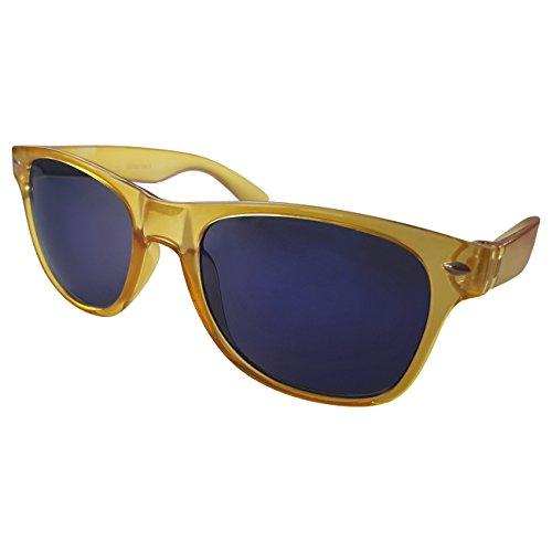 Ciffre Sonnenbrille Nerdbrille Nerd Brille Pilotenbrille Look Gelb Gold Blaue Glässer