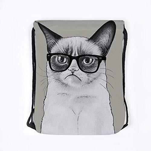 QINKU 3pcs Katze mit Brille Stil 3D-Druck Aufbewahrungstasche Draw Tasche Supermarkt grüne Tasche Strandtasche Polyester Umhängetasche-TDK355,39CM * 30CM