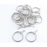 alsero Metal anillos de cortina para hasta 30mm de grosor polo en color plateado, 35mm de diámetro interior, Lote de 60