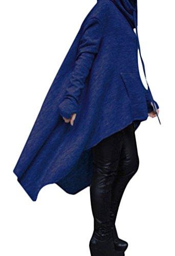 MILEEO femme veste sweater à capuche longue lache large couleur unie pulls irrégulier à manches longues Bleu