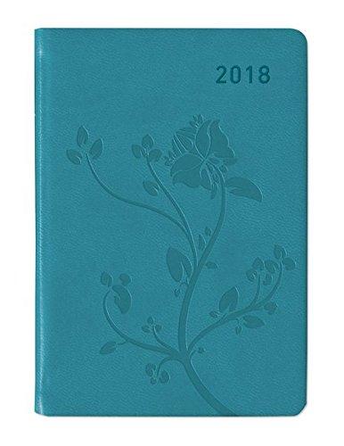 Ladytimer Mini Deluxe Turquoise 2018 - Taschenplaner / Taschenkalender (8 x 11,5) - Tucson Einband - Motivprägung Floral - Weekly - 144 Seiten