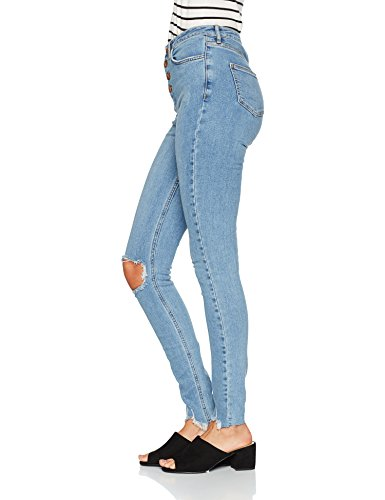 New Look Damen Jeans Highwaisted Ripped Skinny Blue (Mid Blue)