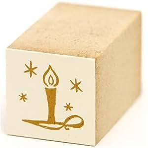 Joli petit tampon en bois de Noël et bougie et étoile