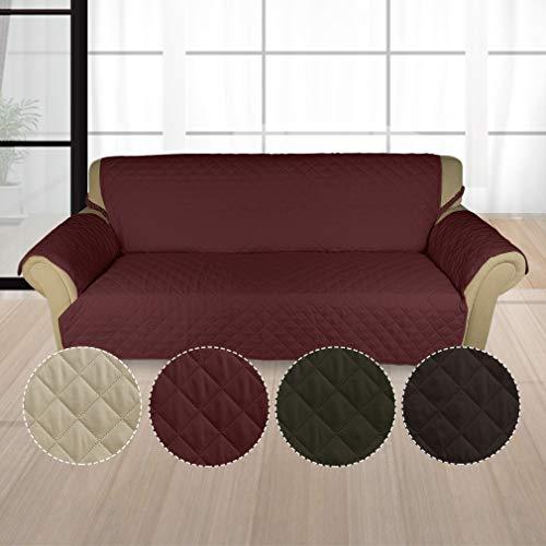 KINLO® Sofahusse 3 Sitzer 167x165 Weinrot Sofa überwurf 100% Baumwolle Füllung