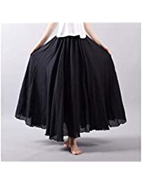 8df8ea5a3a Mujeres Algodón De Lino Faldas Largas Cintura Elástica Faldas Plisadas  Playa Faldas De Verano Vintage