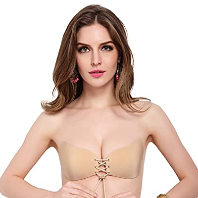 LALABRA Women's Strapless Demi Bra Self Adhesive Push Up with Drawstring