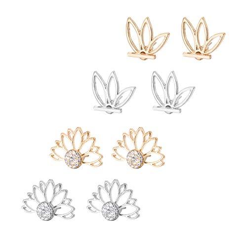 HooAMI 4 Paar Metalllegierung Ohrstecker Hohle Blumenmuster Blumen Ohrringe Silber & Gold