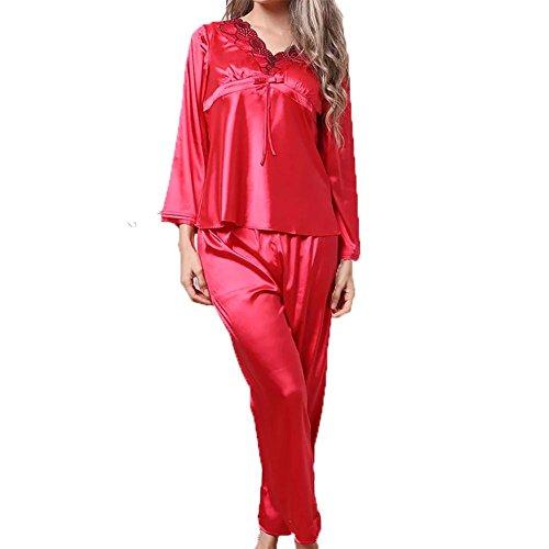 YUYU Des femmes Porter Autour de Soie Premium Chemise de nuit Broderie Les manches longues Vêtements de nuit Grande taille Chemise de nuit Red