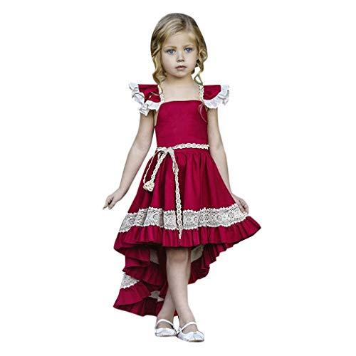 2069f5f3d2f0b7 FRAUIT Vestito Principessa Bambina Abiti Bambina Cerimonia Eleganti Senza  Maniche in Pizzo Vestito Davanti Corto Dietro