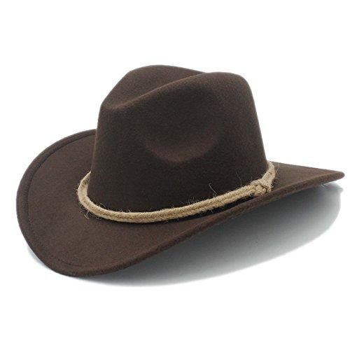 ZX Retro Frauen Herren Chapeu Western Cowboy Hat für Gentleman Cowgirl Breite Krempe Jazz Kirche Gap Cloche Sombrero Top Cap, 3 (Krempe Hat Kirche)