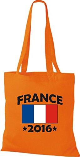 ShirtInStyle Stoffbeutel Baumwolltasche France 2016 Ländertasche, Farbe Pink orange