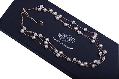 Galaxy–Collier avec perles en cristal Swarovski élégant et aspect Luxueux Finitions Or Rose 18carats supérieure–Idéal pour les femmes et filles–Livré avec boîte cadeau