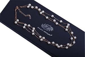 """""""Galaxy Jewellery"""" Collana con Swarovski Crystal Pearls elegante e sguardo di lusso in oro rosa 18 ct Fine- ideale per le donne e le ragazze - Viene fornito con confezione regalo"""