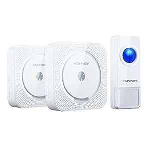 VICTSING Campanello Kit Wireless Doorbell Portatile con 52 Chime Toni Operativi a 1000ft con 1 Trasmettitore e 2x Ricevitore Due Campanelli Chime, Bianco