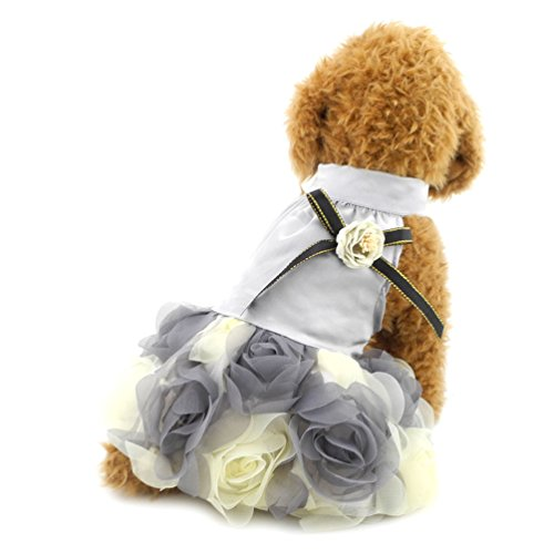 smalllee _ Lucky _ store Kleine Hunde Prinzessin Kleid Luxus Floarl Kleid Satin Pet Hochzeit Party Kleid (Dog Prinzessin Carrier)