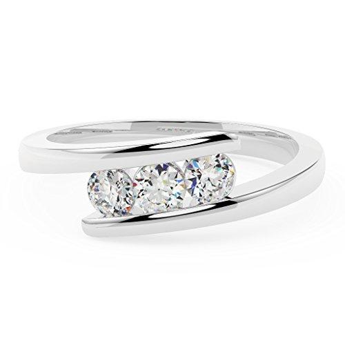 Diamante rotondo Tension Setting Trilogy anello di fidanzamento, in oro bianco, oro bianco, 53 (16.9), cod. MSR0117.6