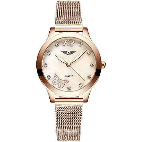 Guanqin de las mujeres reloj suizo de cuarzo de acero inoxidable banda, mariposa diamantes patrón oro entonó