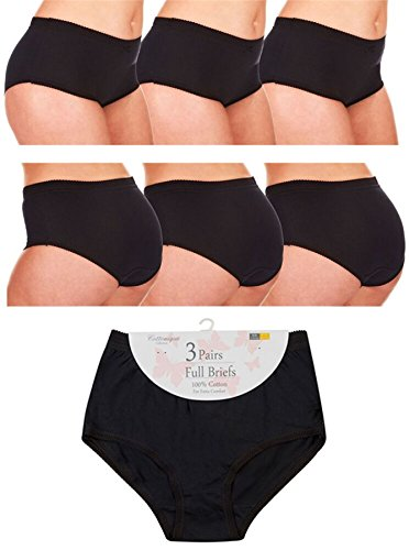 Pack Womens Cotton Underwear (Ladies 6 pair pack 100% Cotton Full Briefs by Cottonique Black XXOS (48-50))