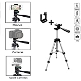 Rewy DW-3110 Portable & Foldable Lightweight Mobile Camera Tripod with Universal Holder Bracket | Three-Dimensional Head & Quick Release Plate Compatible with All Mobiles Phones & Cameras - Silver