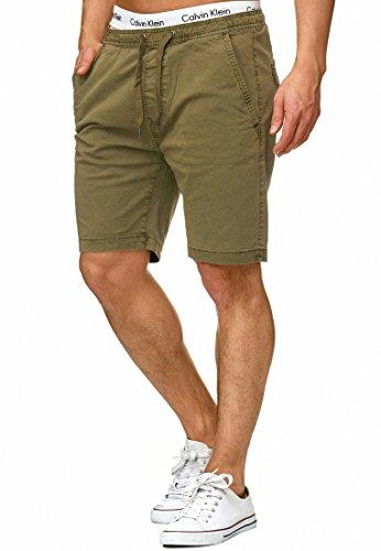 Indicode Herren Kelowna Chino Shorts Bermuda Kurze Hose mit Kordel aus hochwertiger Baumwollmischung Regular Fit Army L China Top