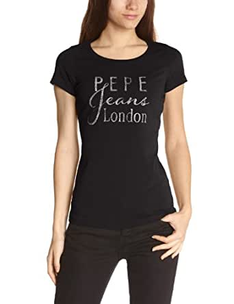 Pepe Jeans Damen T-shirt PIPI, Rundkragen,Logo - Schwarz - Noir (Black) - 32 (Herstellergröße: XS)