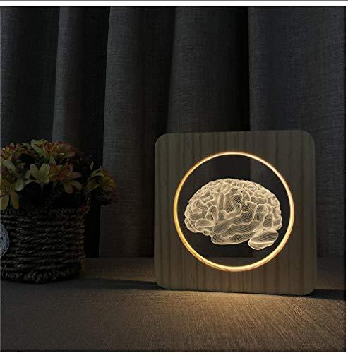 Zxwd Gehirn Design 3D Led Arylic Nachttischlampe Lichtschalter Control Carving Lampe Für Schule Universität Dekorieren