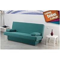 Sofá cama de apertura clic clac, con base tapizada. Varios colores a elegir.