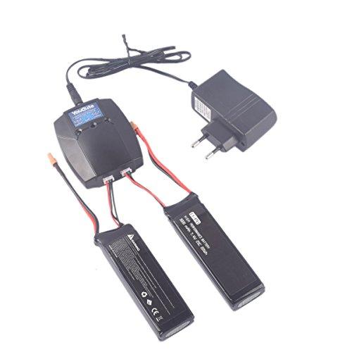 YouCute 2PCS 7.4V 3000mAh Mejora Batería y Cargador para mjx B3 Bugs 3 F100 Contixo F17 Force1 RC Quadcopter Drone repuestos (batería 2PCS + Cargador)