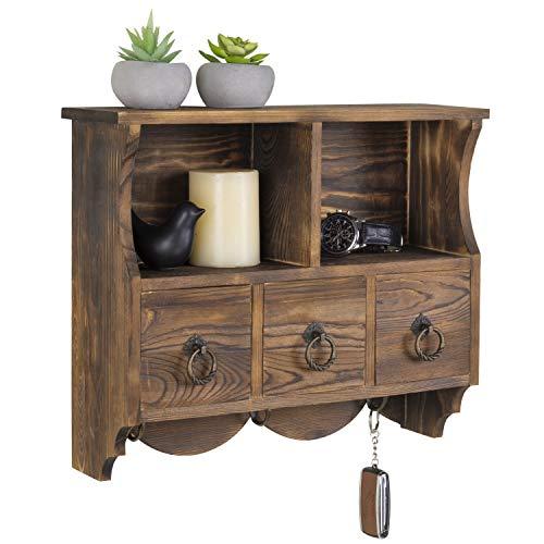 MyGift Wandregal Vintage Holz Cubby Regal mit 3 Schubladen & Kleiderhaken - Wandregal Mit Kleiderhaken