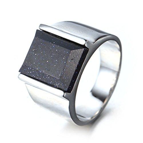 ahl Einfach Stil Platz Achat Edelstein Ring Silber, Blau Sandstein Größe 66 (21.0) (11. Platz Halloween)