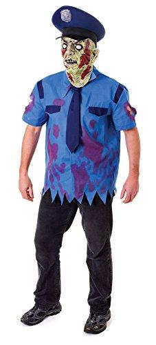 9Zombie Cop Kostüm mit Maske, Blumenkasten (Cops Kostüme Halloween)