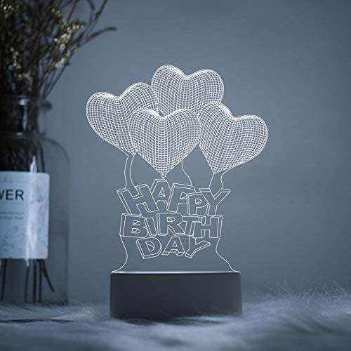 Kreative Geschenke Kreative Geschenke 3D Nachtlichter Acryl Logo Net Rot, Happy Birthday Balloons, Drucktastenschalter