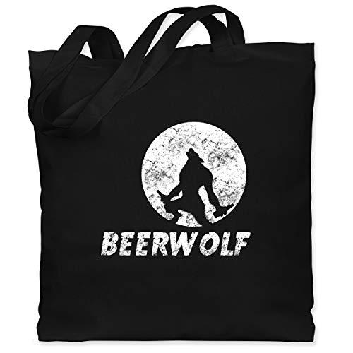 Statement Shirts - Beerwolf - Unisize - Schwarz - WM101 - Stoffbeutel aus Baumwolle Jutebeutel lange Henkel