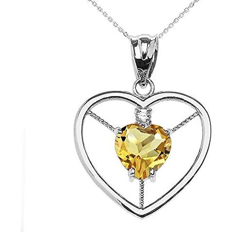 Donne Collana Pendente Elegante 14 Ct Bianco Oro Citrino E Diamante Solitario Cuore (Viene Fornito Con Una Catena Da 45cm)