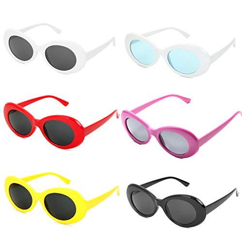 OAONNEA 6 Paare Uv400 Sonnenbrille Oval Retro Kurt Cobain Runde Linse Clout Googles für Damen Herren