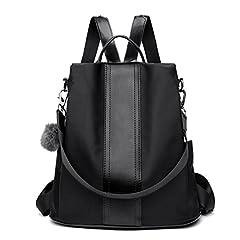 Idea Regalo - LOSMILE Zaino Donna Borse a zainetto Borse a spalla in Nylon Zaino alla moda con tracolla Casuale Daypack Borse a mano Backpack Daypack per Scuola Viaggio lavoro (nero)