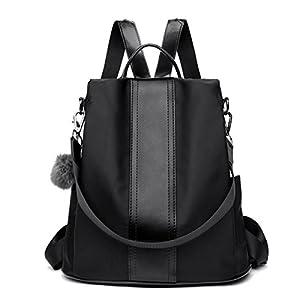 LOSMILE Zaino Donna Borse a zainetto Borse a spalla in Nylon Zaino alla moda con tracolla Casuale Daypack Borse a mano Backpack Daypack per Scuola Viaggio lavoro (nero)