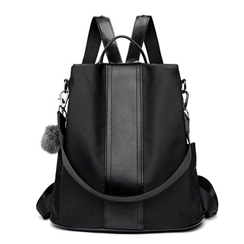 ck Handtaschen Nylon Daypack Umhängetasche Reiserucksack Schulrucksack Backpack Schultertasche PU Leder Anti Diebstahl Tasche für Schule Reise Arbeit (Schwarz) ()