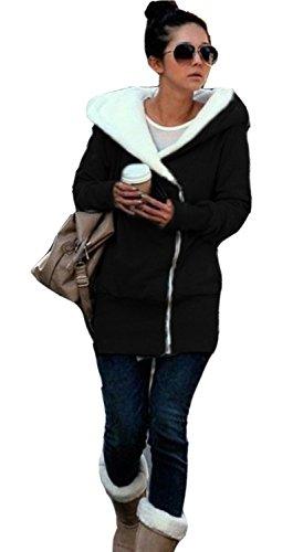 Minetom Sweatshirt Maniche Lunghe Con Cappuccio Felpa - Donna Cerniera Hoody Nero