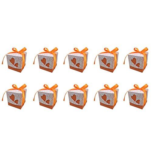 10X Toruiwa Geschenkbox Papier Pralinenschachtel Hochzeit Süßigkeiten Boxen mit Bowknot für Hochzeit Geburtstag Baby Dusche Weihnachten Taufe Kinder Party Babyparty (Orange)